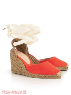 Sandals - Red - Womens Castaner Carina Wedge Espadrilles -Orange New Arrival