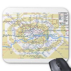 Work in comfort and style with London mouse mats from Zazzle. Maps, Tube, London, Projects, Design, Log Projects, Blue Prints, Map
