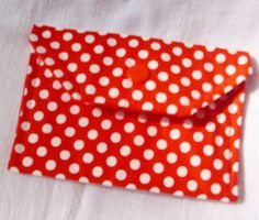"Fabric Snap Wallet 5"" by 3 3/4"" perfect for cash ID or credit cards Red with white polka dots and matching red chevron print lining"