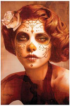 Vendimia Belleza by Daniel Esparza Tattooed Woman Canvas Art Print – moodswingsonthenet