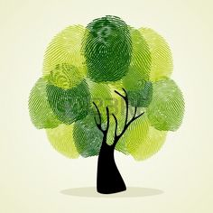 Go Green identity tree finger prints illustration file layered for easy manipulation and custom colo Stock Vector
