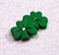 Shamrock Polymer Clay Beads Medium Size with Matte by BarbiesBest, $3.00