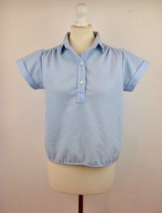 Vintage 80s Ladies Blue Shirt Casual Short Sleeved by baileysbits
