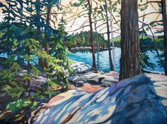 """""""Shadows of the Day"""", Algonquin Park. Acrylic, by Anna Clarey Canadian Painters, Canadian Artists, New Artists, Landscape Art, Landscape Paintings, Landscapes, Oil Paintings, Islands In The Stream, Algonquin Park"""