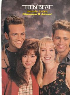 BEVERLY HILLS 90210 pinup - LUKE PERRY SHANNEN DOHERTY JENNIE GARTH JASON PRIESTLEY - ZTAMS