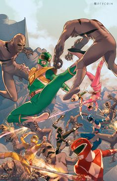 Mighty Morphin Power Rangers #1 by Pryce14.deviantart.com on @DeviantArt Go Go Power Rangers, Power Rangers Comic, Mighty Morphin Power Rangers, Gi Joe, Ranger Verde, Desenho Do Power Rangers, Comic Art, Comic Books, Arte Nerd
