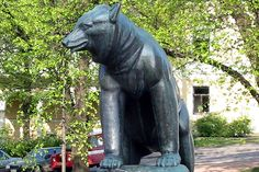 Emil Cedercreutz: Karhuveistos Pori Garden Sculpture, Lion Sculpture, Western Coast, Finland, Europe, River, Statue, City, Outdoor Decor