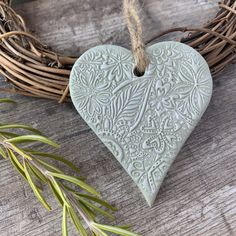 Hanging Heart Decoration - Christmas Decoration, Christmas Gift, Engagement Gift, Grey and White Floral Clay Polymer Clay Crafts, Polymer Clay Jewelry, Clay Beads, Navy And Copper, Letterbox Gifts, Floral Texture, Distance Gifts, Heart Decorations, Christmas Decorations
