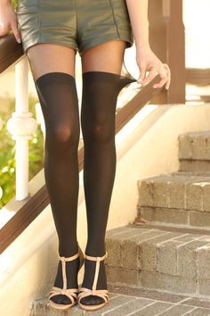 Black pantyhose with designs made in Japan. Women's sheer patterned tigts.