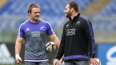 From one captain to another, Sam Cane (left), who will captain the All Blacks against Italy, chats with regular skipper ...