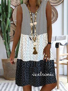 Women's Printed Stitching Sleeveless V-neck Sundress Midi Dress L - - Summer Dresses Casual Dresses, Short Sleeve Dresses, Summer Dresses, Dresses Dresses, Ladies Dresses, Dance Dresses, Elegant Dresses, Short Sleeves, Formal Dresses