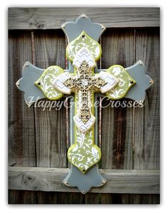 Wall CROSS - Wood Cross - Large - Gray, Green & Cream design, Chevron print, Champagne iron top cross by happygoose on Etsy https://www.etsy.com/listing/220007866/wall-cross-wood-cross-large-gray-green