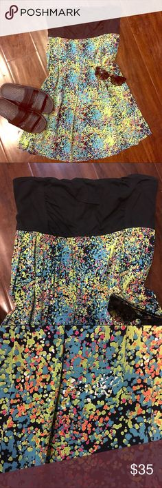 FOX Dress Strapless FOX dress, black top with a mix of neon colors on dress. Fox Dresses Strapless