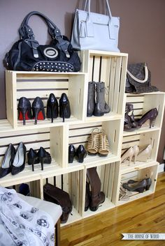 DIY crate shoe storage display | www.jenwoodhouse.com/blog