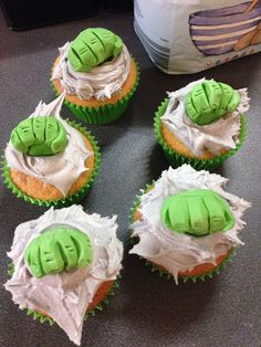 """""""The Hulk"""" cupcakes! With a chocolate chip sponge."""