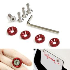 4-JDM-Racing-Style-Red-Aluminum-Washers-Bolts-Kit-For-Car-Fender-Bumper-etc