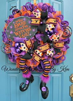Halloween wreathdeco mesh wreath Witch deco by WonderfulWreathsKim Halloween Mesh Wreaths, Diy Halloween Decorations, Holiday Wreaths, Scream Halloween, Holidays Halloween, Halloween Crafts, Witch Wreath, Diy Wreath, Halloween Projects