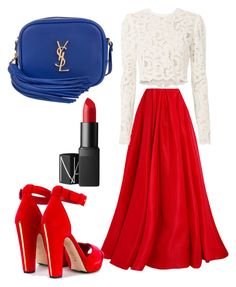 Red by marzia88 on Polyvore featuring polyvore, fashion, style, A.L.C., Reem Acra, Alexander McQueen, Yves Saint Laurent, NARS Cosmetics and clothing