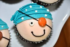 Pirate Cupcakes --Cute idea! Maybe if my nephew has a nautical/pirate-themed first birthday