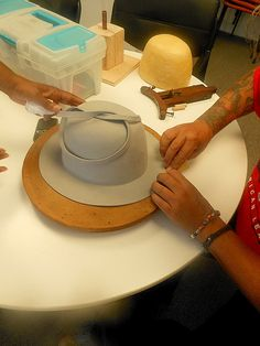 How to turn the upturned brim of a Felt hat into the same velour finish as the crown. Hatstruck Couture Millinery: Millinery Class: The Fedoras Stole the Show!