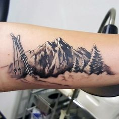 Mountains With Skis Mens Forearm Tattoo
