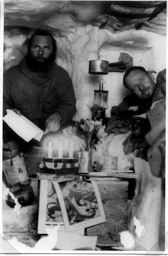 Dr Fritz Loewe (right) in the 'Eismitte' camp where he spent the whole winter during Alfred Wegener's 1930-31 Greenland Expedition
