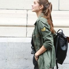parka army kaki + sac à dos noir