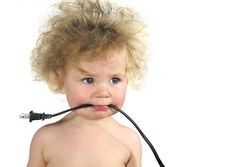 Baby is wired. Baby with frizzed hair and electric cord on white background. Big Cheeks, My Favorite Part, Stock Photos, Humor, Children, Baby, Photography, Image, White Hair