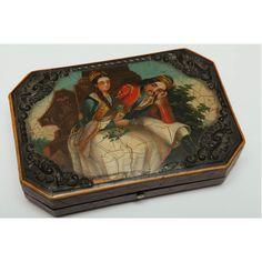 """Φιλελληνικό Ζωγραφιστό Κουτί """"Ζευγάρι Ελλήνων"""", β' τέταρτο του 19ου αιώνα.  Κουτί (κοσμηματοθήκη)  ξύλινο δερματόδετο με ζωγραφισμένη φιλελληνική παράσταση.   Διαστάσεις: 9 Χ 13 Χ 3 εκ.  By Stoa Antiques"""