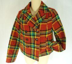 FREE PEOPLE ANTROPOLOGY Wool Plaid Double-Breasted Coat Jacket size 4 RN #66170 #FreePeople #BasicCoat Double Breasted Coat, Burnt Orange, Wool Blend, Free People, Plaid, Blazer, Sleeves, Fashion, Jackets