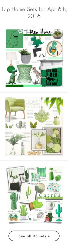 """""""Top Home Sets for Apr 6th, 2016"""" by polyvore ❤ liked on Polyvore featuring interior, interiors, interior design, home, home decor, interior decorating, Kikkerland, Lux-Art Silks, Sasson Home and Dinosaurs"""