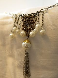 September 2013 Challenge:  Choker Length, B'Sue focal, multi color chains, and faux pearls