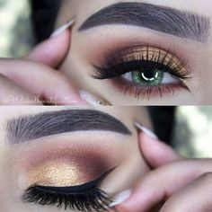 39 Easy Eyeshadow Looks - Golden Earth - Natural And Simple Step By Step Tutorials on How to Apply to the Brows and Lashes - Makeup Tricks, Make up for Eyebrows, and Beauty looks Similar to Linda Hallberg - https://thegoddess.com/eyeshadow-tutorials-for-beginners/