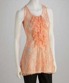 Take a look at this Peach Jabot Tank by Poof! on #zulily today! $12.99, regular 26.00