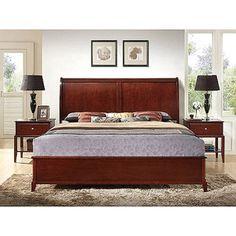 Jefferson Queen Bed and Set of Nightstands, Cappuccino $499