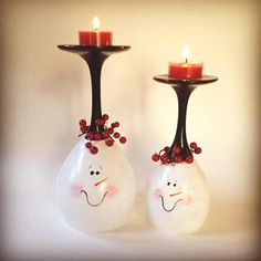 Snowman hand painted wine glass tea light holders set of two.