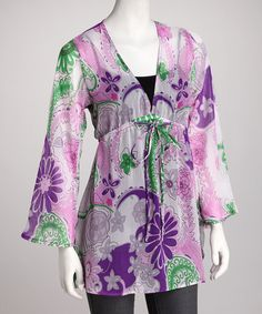Take a look at this Purple Floral Tie Tunic by Luv2Luv on #zulily today!