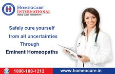 Homeopathic Doctors at Homeocare International are experts and have rich experience in treating various chronic diseases. They give natural remedies for complete relief from the disease with zero side effects. So contact your nearest Homeopathic consultants at Homeocare International and free from health problems. Visit Us @ www.onlinehomeocare.com