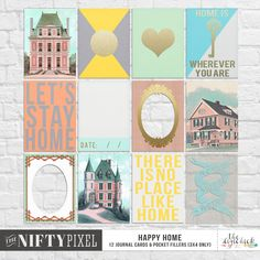 HAPPY HOME | Journal Cards & Printables A nifty pack of jounral cards and pocket fillers that will work well in both pocket scrapbooking projects as well as standard 12X12 projects. Each design is unique and includes a couple of frames, bold sentiments, a mix of modernand vintage motifs and an acetate card for good measure.  DOWNLOAD INCLUDES:  12 unique {3X4} JC's and Pocket fillers.  2X Printable sheets. All products are saved at 300ppi for optimum printing quality.