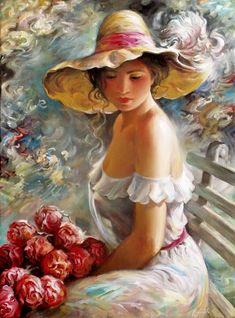 art by Arkady Ostritsky Gustav Klimt, Woman Painting, Painting & Drawing, Cross Paintings, Original Paintings, Vintage Paintings, Pepe Le Pew, Diego Rivera, Art Academy