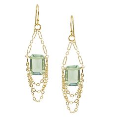 Mona Earrings Green Amethyst ($90) ❤ liked on Polyvore