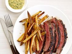 Get Steak Frites With Herb Mustard Recipe from Food Network