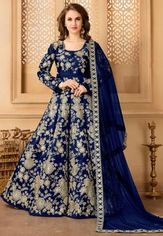 You are bound to make a strong style statement with this violet color designer embroidered tafeta silk floor length anarkali salwar kameez. Grab this beautiful designer anarkali suit to fetch the compliments for your rich sense of style at upcoming event. Indian Anarkali Dresses, Silk Anarkali Suits, Anarkali Churidar, Long Anarkali, Eid Dresses, Lehenga Choli, Indian Sarees, Long Dresses, Pretty Dresses