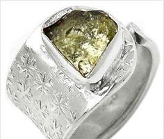 Czech Moldavite Ring Sterling Silver Sz 6. Starting at $1 on Tophatter.com!