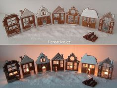 Easy-to-make Gingerbread village - Pepparkaksby som är lätt att göra Gingerbread House Template, Gingerbread Village, Christmas Gingerbread House, Gingerbread Cake, Christmas Sweets, Christmas Cooking, Christmas Holidays, Christmas Decorations, Ginger House