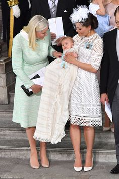 Crown Princess Mette-Marit of Norway (pictured left) will also play godmother to the young Swedish prince
