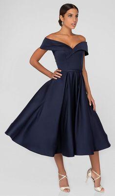 Terani Couture - Off-Shoulder Tea Length A-line Dress Classy Prom Dresses, Glamorous Dresses, Summer Dresses, Bride Dresses, Dance Dresses, Stylish Dresses, Evening Dresses, Tea Length Formal Dresses, Tea Length Bridesmaid Dresses