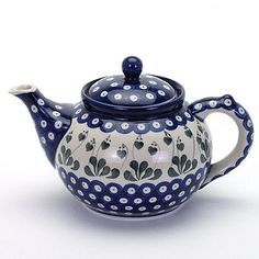 Polish pottery tea pot. Love it! Would be nice to have one in my tea pot collection :)