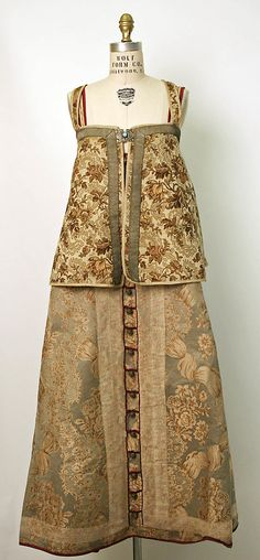 Ensemble, 19th century, Russian, silk, cotton or linen. Sarafan and sleeveless jacket only.
