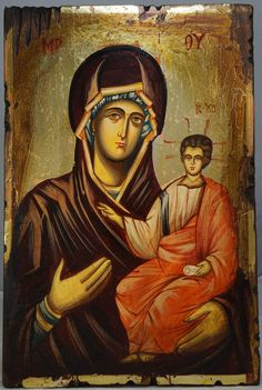 High quality hand-painted icon of Madonna Hodegetria. BlessedMart offers Religious icons in old Byzantine, Greek, Russian and Catholic style.
